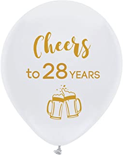 White cheers to 28 years latex balloons, 12inch (16pcs) 28th birthday decorations party supplies for man and woman