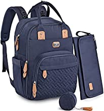 Diaper Bag Backpack with Portable Changing Pad, Pacifier Case and Stroller Straps, Dikaslon Large Unisex Baby Bags for Boys Girls, Multipurpose Travel Back Pack for Moms Dads, Navy Blue
