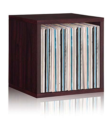 Way Basics Extra Large Cube Stackable LP Album Shelf, Vinyl Record Storage (Tool-Free Assembly and Uniquely Crafted from Sustainable Non Toxic zBoard Paperboard), Espresso