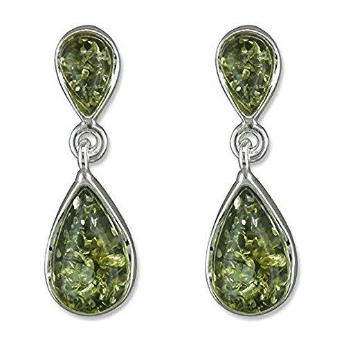 Plata de ley pendientes de ámbar - en forma de Lágrima verde pendientes de gota de ámbar - Fancy pendientes de plata - perfecto para los amantes de la joyería de ámbar.