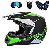 HENGHA Juego de casco de motocross para niños de 5 a 14 años, casco completo Offroad para adultos, unisex, bicicleta Enduro, Downhill ATV/BMX, Offroad, certificación D.O.T (E, S)