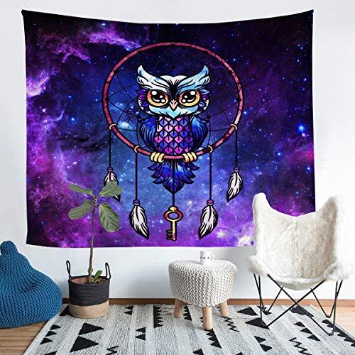 Manta de pared con diseño de búho, atrapasueños, diseño de galaxia, plumas, indias, para colgar en la pared, para niños y niñas, color morado y azul estrellas, tamaño mediano 137 x 132 cm