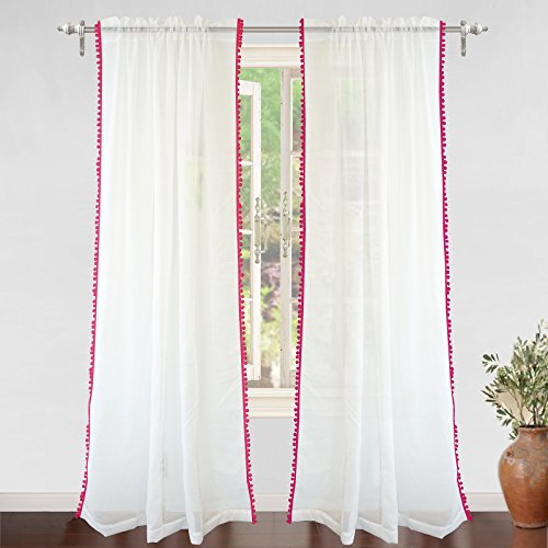 DriftAway Laura Pom Pom Trimmed White Voile Sheer Window Curtains Rod Pocket 2 Panels Each Size 52 Inch by 84 Inch Plus 2 Inch Header Pink