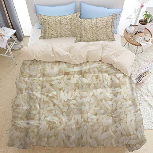 LISNIANY Beige Duvet Cover,Weißer Langer Reis ungekochte Rohe Getreide Makronahaufnahme,Mikrofaser Bettbezug 240 * 260cm 2 Kissenbezug 50 * 80cm