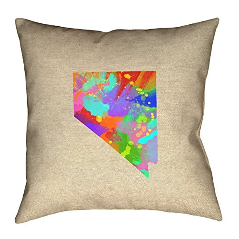 市の中心部ピンク規範ArtVerse Katelyn Smith Nevada Watercolor 18 x 18 Pillow-Spun Polyester [並行輸入品]