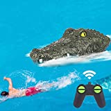 SOARRUCY Remote Control RC Boat 2.4G High-Speed Simulation Remote Control Crocodile Head Waterproof Prank Toys for Pools Lakes, Floating Alligator Head Remote Control Boat for Kids Adults Boys Girls