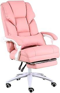 DFLY Silla Oficina ergonómica para el hogar, Silla Gaming Ajustable en Altura Barata y cómoda con reposabrazos y Ruedas, sillón reclinable con Soporte Lumbar, Rosa