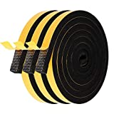 Foam Seal Tape-3 Rolls, 1/2 Inch Wide X 1/2 Inch Thick Total 20 Feet Long, Weather Stripping for Windows and Doors Adhesive Soundproofing Windows Sealing Tape Thick EPDM Foam Strip (6.5ft x 3 Rolls)