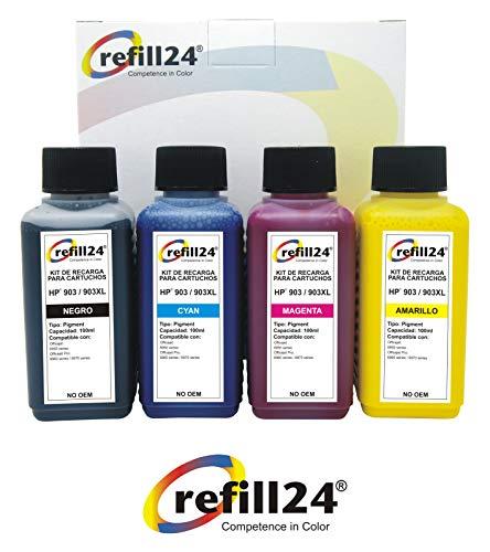 Kit de Recarga para Cartuchos de Tinta HP 903XL 903 Negro y Color + 400 ml pigmentada