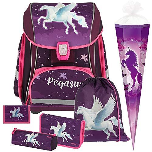 Pegasus - Einhorn Pferd - Spirit SMART Leicht-Schulranzen-Set mit BLINKENDEM LED-Schloss 6-teilig mit SCHULTÜTE