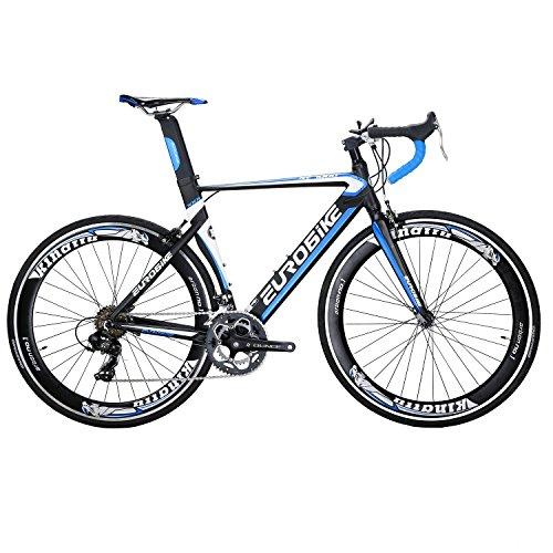 Eurobike XC7000 14 Speed 54 cm Light Aluminum Frame Road Bike Fashion 700C Racing Bicycle Blue