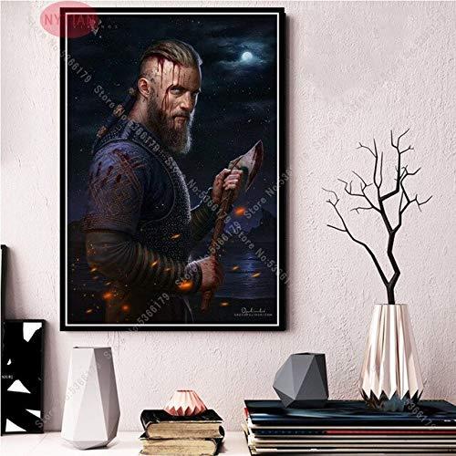 shuimanjinshan Wikinger Geschenk Ölgemälde Classic Movie TV-Serie Show Saison Poster Druck Wandkunst Leinwand Bild Home Wohnzimmer Dekor 50x70CM No Frame H-8061