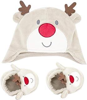 Lankater, 1 Conjunto Infantil De Navidad Hombres Mujeres Elk Sombrero Botines De Invierno Cómodo Infantiles De Los Zapatos Del Calcetín Del Sombrero Caliente Lindo Para Niños Niñas