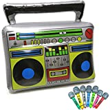 Inflatable Boom Box 80s 90s party decorations + 2 Inflatable Microphones 80s themed Party Props Inflatable Decorations