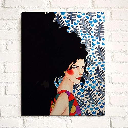 KWzEQ Vintage Poster langes Haar Mädchen Poster drucken Leinwand Malerei Wandkunst Moderne Wandbild,Rahmenlose Malerei,70x90cm