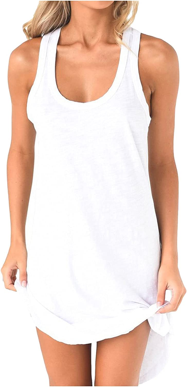 ESULOMP Women's Casual Dress Summer Sleeveless U-Neck Racer Back Solid Dress Loose Sport Vest Skirt Dress