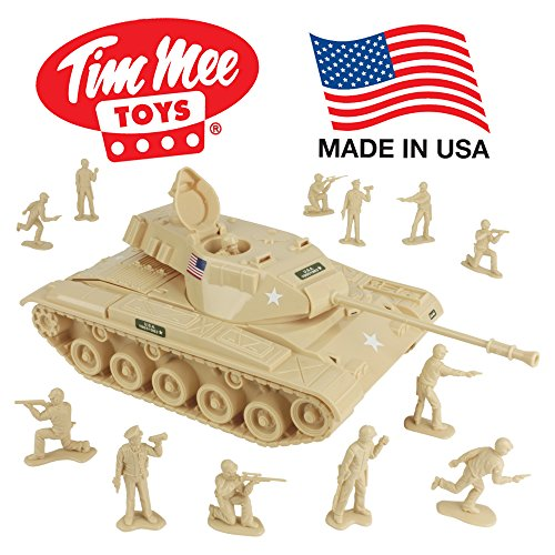 TimMee Toy Walker Bulldog Tank Playset- Desert Tan 13pc - Made in USA