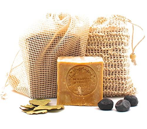 Original Aleppo Seife Set, 60% Olivenöl 40% Lorbeeröl Seife + Sisal Seifensäckchen + Reisebeutel, ca.200g, Handmade, Vegan, Naturprodukt, Haarseife, Duschseife, Original Rezeptur