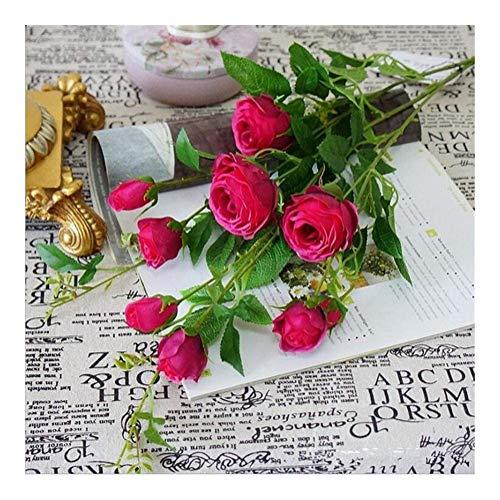 ZHENAO Lifelike 9 Têtes Soie Artificielle de Rose de Rose + Plastique Fleur de Fleur de Fleur de Fleurs Pour La Maison Décoration de Mariage Fleurs artificielles/G