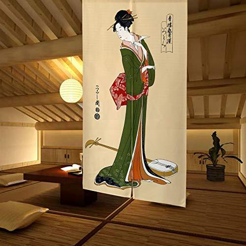 LIGICKY Noren Cortina de Puerta de Estilo japonés Ukiyoe Geisha Girl Pintura de Tipo Largo Tapiz de Puerta asiático Tratamiento de Ventana para el hogar Sushi Decoración de Cocina 85 x 150 cm