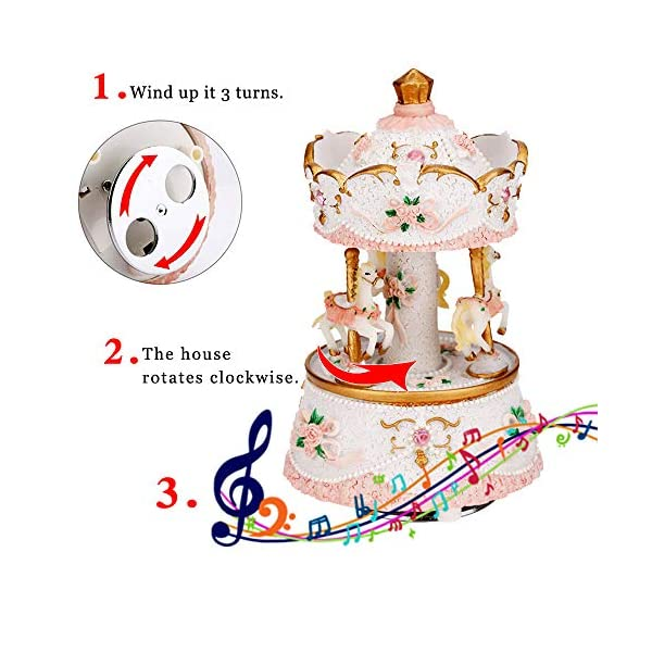 LOVE FOR YOU Carousel Horse Valentine's Music Box Cute Toy Present Birthday Gift for Baby Girls Children Daughter… 8