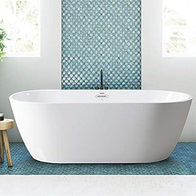 FerdY Freestanding Bathtub Gracefully Shaped Freestanding Soaking Bathtub, 02538-67''Glossy White cUPC Certified(Ferdy-0538-67)