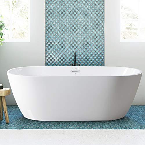 FerdY Bali Freestanding tub Gracefully Shaped Freestanding Soaking 02538-67''Glossy White cUPC Certified(Ferdy-0538-67)