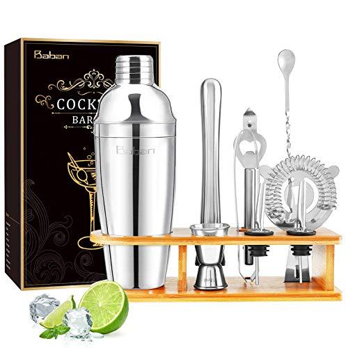 Baban set cocktail 10 pezzi,kit barman,Shaker per Cocktail 750ML set cocktail professionale,Compreso Squisita cornice in legno;Shaker per Cocktail;completo Set di Regalo