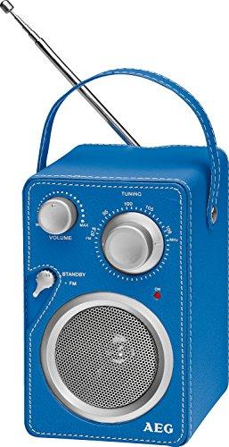 AEG MR 4144 - Radio portátil con acabado de cuero, color azul