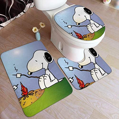 Set di 3 tappetini da bagno Sn-o-opy Woodstock Set di tappetini antiscivolo da campeggio, tappetino sagomato a forma di U e copertura del coperchio-one_Color