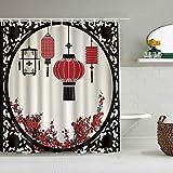 SSZO Cortina de Ducha Impermeable,Pantalla de Linterna de Estilo Chino Decorativo y Estilo de año Nuevo de Flor de Ciruelo,Cortinas de baño de poliéster con 12 Ganchos,tamaño 180 x 180cm