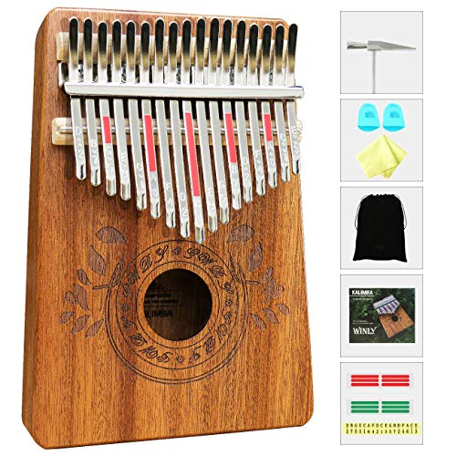 UNOKKI Kalimba 17 Keys Thumb Piano with Study Instruction and Tune Hammer, Portable Mbira Sanza African Wood Finger Piano, Gift for Kids Adult Beginners Professional.