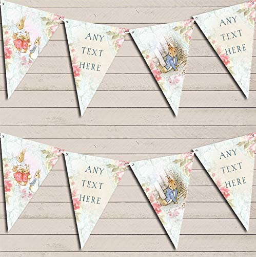 Peter Rabbit Floral Vintage Rustic Banner Christening Personalised Bunting Decoration Banner Garland