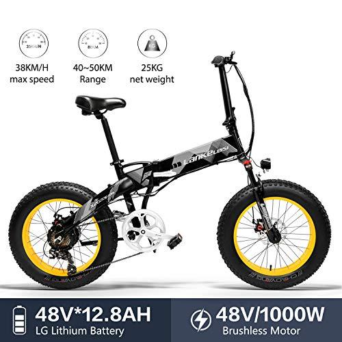 LANKELEISI X2000 20 x 4,0 Pouces Gros Pneu 48V 1000W 12.8AH Fat Tire Cadre en Alliage d'aluminium Tire vélo électrique Pliable pour Adulte Femme/Homme pour Montagne/Plage/Neige E-Bike (Jaune)