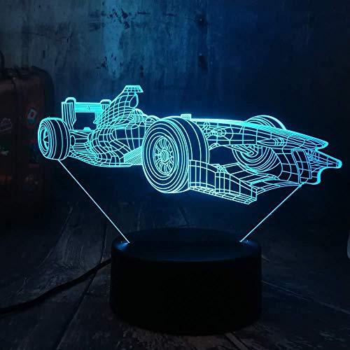 3D Illusion Night Light bluetooth Smart Control 7&16M Color Mobile App Led Vision Dormitorio cool mula racing car escritorio mesa fiesta para el hogar juguete acrílico