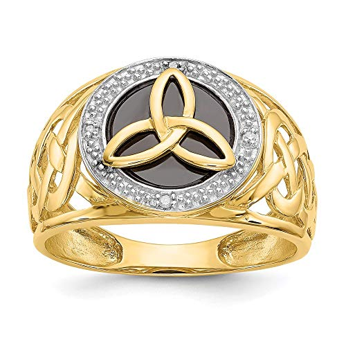 14k Yellow Gold Black Onyx Diamond Trinity Band Ring Size 10.00 Claddagh Celtic Man Fine Jewelry For Dad Mens Gifts For Him