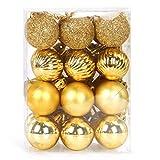 Bolas Navidad Pequeña Dorado, 3cm Adornos árbol de Navidad Pequeña, 24 PCS Bolas de Navidad Mini, Navidad Esferas de...