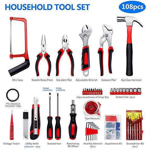 Household Repair Tool Set - Arrinew 108 Pcs High Grade Alloy Steel hand Tool Kit with Platsic Toolbox, Repair Hand Tools Set with Anti-Slip Handle for Home, Apartment, Garage, Dorm, Office etc.