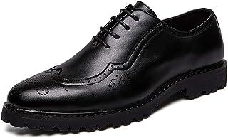 CAIFENG Moda para Hombre Oxford Casual Flexible Flexible Clásico Tallado Tallado Altura Zapatos de Brogue (Color : Black, ...