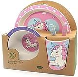 Vajilla de bambú Unicornio. Material ecológico sin BPA, Apto para lavavajillas. Vajilla bebé e Infantil 5 Piezas. (Rosa