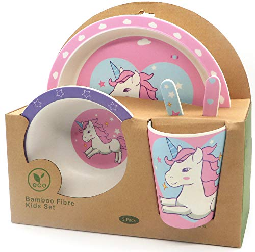 Vajilla de bambú Unicornio. Material ecológico sin BPA, Apto para lavavajillas. Vajilla bebé e Infantil 5 Piezas. (Rosa)
