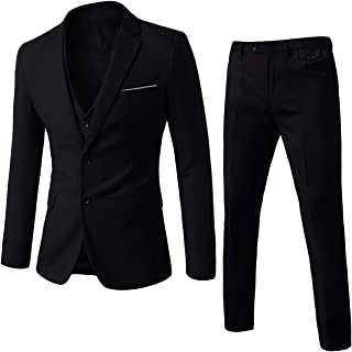 WEEN CHARM Mens Suits 2 Button Slim Fit 3 Pieces Suit