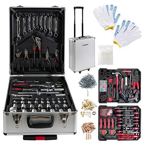 Arebos 1200 teiliger Werkzeugkoffer Werkzeugset (unter anderem verschiedene Zangen, Schraubendreher, Steckschlüsseleinsätze, Wasserwaage, Heißklebepistole)