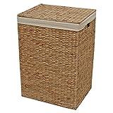 Cesta de mimbre de lavandería con forro, caja alta para juguetes y almacenamiento, Mimbre, natural, Small - L 34 x W 25 x H 55 cm