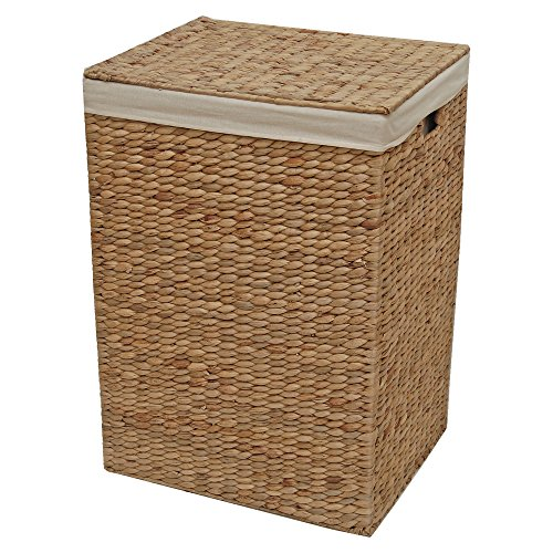 Casa Furnishings Natural Wicker Laundry Basket, Storage Box, Cotton Lined Water Hyacinth (Large - L 44 x W 35 x H 63 cm)