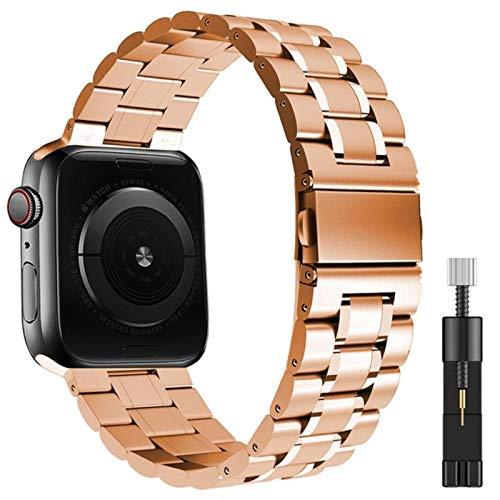 Correa para apple watch se 44mm 42mm 40mm 38mm band series 6 5 4 3 pulsera Correa de metal de acero inoxidable sólido para bandas iwatch