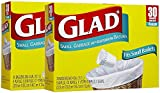 Glad Garbage Small, White, 30 ct, 4 gallons, 2pk