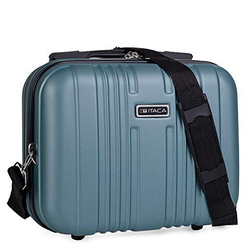 ITACA - Grand sac de voyage en ABS rigide, trousse de toilette. Ruban pour chariot à fermeture à glissière, poignée rétractable et sac à bandoulière. Plusieurs compartiments. T71535, Color Bleu verdât