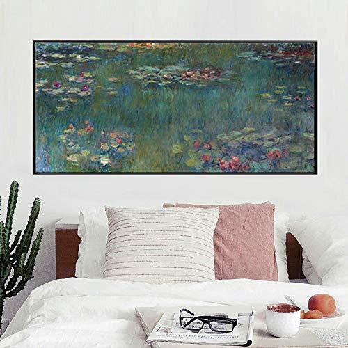 Wasser Lotus leinwand Kunstdruck Poster abstrakte Kunst wandbild für Wohnzimmer Dekoration Wand leinwand Kunst Dekoration rahmenlose 50x100 cm