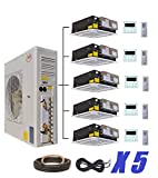 Ductless Mini Split Air Conditioner with Heat Pump YMGI Five Zone 5 Zone 60000 BTU 5 x 12000 5 Tons Ceiling Cassette for Home, Office, Apartment with Free 25 Ft Lineset installation Kits